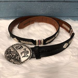 Justin Leather Belt with unique buckle